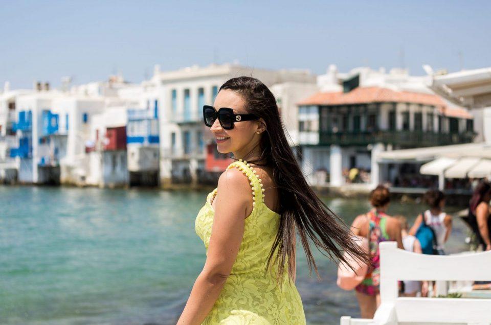 Ensaio feminino na Little Venice com fotógrafa brasileira em Mykonos