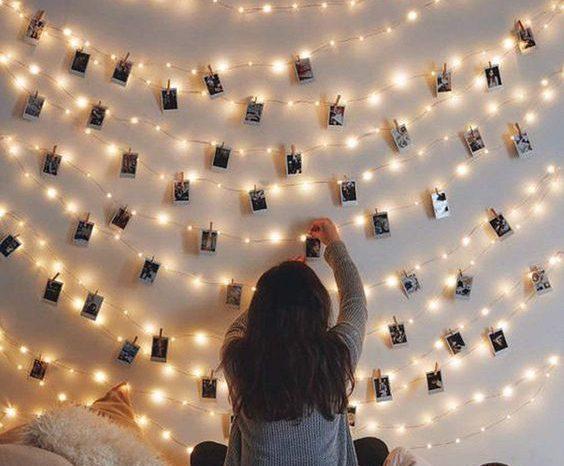 Varal de Fotos Polaroids Iluminado